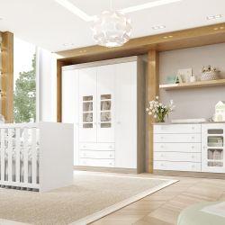 Quarto de Bebê Gabriel Amadeirado com Berço/Cômoda 1 Porta/Guarda-Roupa de 4 Portas