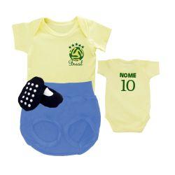 Conjunto de Body, Tapa Fralda e Sapatinho Uniforme do Brasil Nome Personalizado
