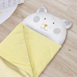 Saco de Dormir Infantil Amiguinho Gatinho Amarelo 1,40m
