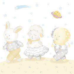 Quadro Amiguinhos Amarelo na Lua