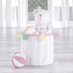 Cesto Organizador para Brinquedos Pompom e Estrelinhas 24cm