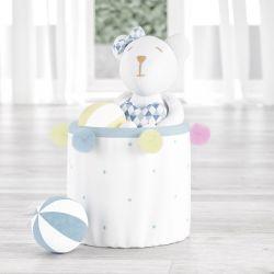 Cesto Organizador para Brinquedos Pompom e Estrelinhas Azul 24cm