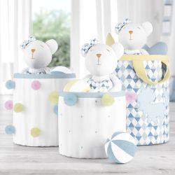 Cestos Organizadores para Brinquedos Pompom Amiguinhos Unicórnio Azul