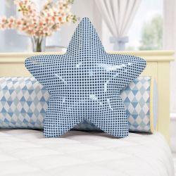 Almofada Estrela Paetê Azul 38cm