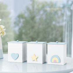 Jogo de Potes MDF Arco-íris, Estrela e Coração Azul