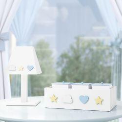 Kit Acessórios MDF Nuvem, Estrela e Coração Azul
