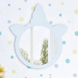 Espelho Redondo Amiguinhos Unicórnio Azul 28cm