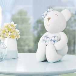 Ursinha Branca com Coração Estampa Geométrica Azul 42cm