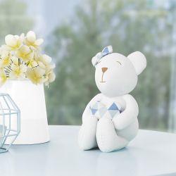 Ursinha Branca com Coração Estampa Geométrica Azul 15cm
