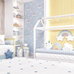 Quarto de Bebê Montessoriano Amiguinhos Unicórnio Azul