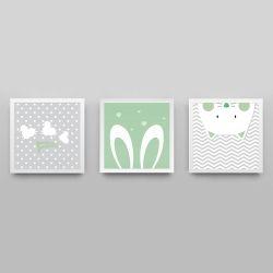 Quadros Amiguinhos Verde/Branco