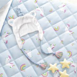 Touca de Bebê Amiguinhos Unicórnio Azul