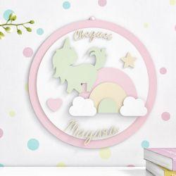 Porta Maternidade Personalizado Unicórnio Arco-Íris