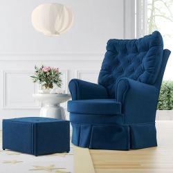 Poltrona Amamentação Balanço e Giratória com Puff Luxo Azul Marinho