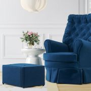 Poltrona Amamentação Balanço e Giratória com Puff Luxo Azul Marinho ... 13dde4e21f