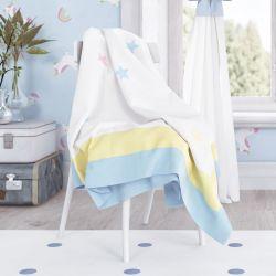 Manta de Tricot Infantil Estrelinhas Azul 1,20m