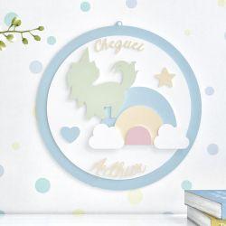 Porta Maternidade Personalizado Unicórnio Arco-Íris Azul
