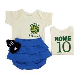 Conjunto de Body, Tapa Saia e Sapatinho Uniforme do Brasil Nome Personalizado