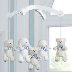 Móbile Ursos e Coelhos Tricot Luxo Azul