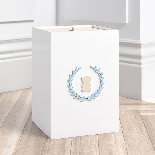 Lixeira Urso Tricot Luxo Azul