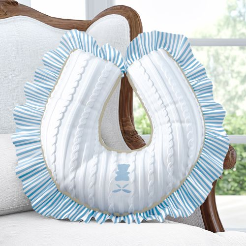Almofada Amamentação com Babado Urso Tricot Luxo Azul