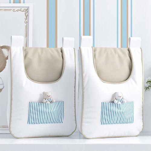 Porta Fraldas Varão Listrado Tricot Luxo Azul