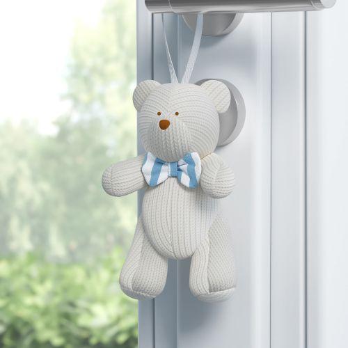 Enfeite para Puxador Urso Tricot Luxo Azul