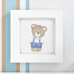 Quadro Urso Tricot Luxo Azul 20cm