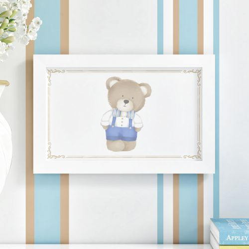 Quadro Urso Tricot Luxo Azul 35cm