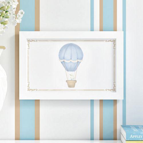 Quadro Coelho no Balão Azul 35cm