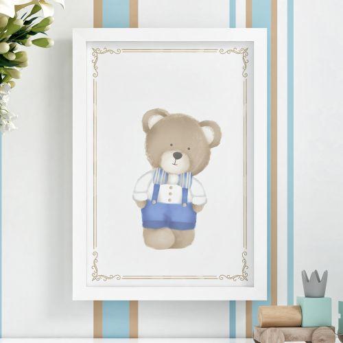 Quadro Urso Tricot Luxo Azul 36cm