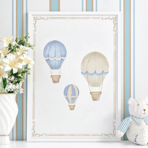 Quadro Balões Azul 63cm