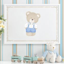 Quadro Urso Tricot Luxo Azul 87cm