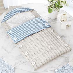 Porta Bebê com Capuz Tricot Luxo Azul