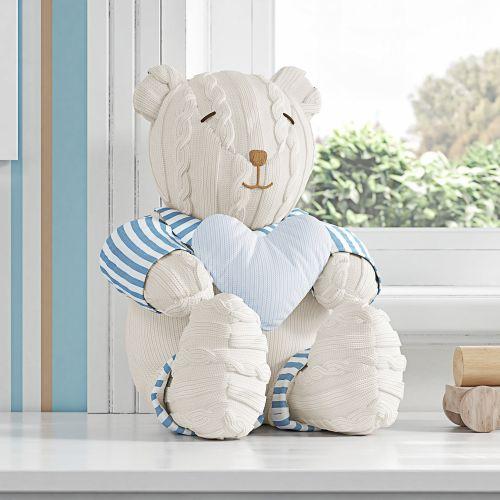 Urso com Coração Tricot Luxo Azul 42cm