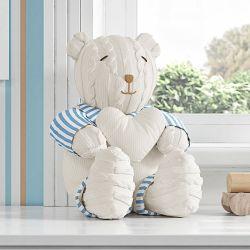 Urso com Coração Areia Tricot Luxo Azul 42cm