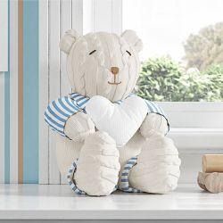 Urso com Coração Branco Tricot Luxo Azul 42cm