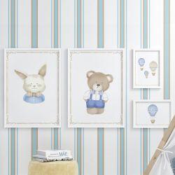 Quadros Balões, Urso e Coelho Azul