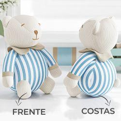 Urso Decorativo Tricot Luxo Azul 18cm