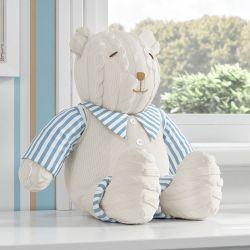 Urso Clássico Tricot Luxo Azul 42cm
