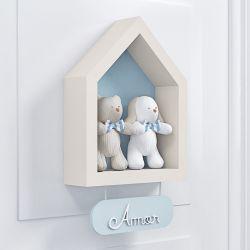 Porta Maternidade Nicho Casinha com Urso e Coelho
