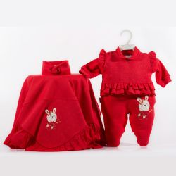 Saída Maternidade Plush Coelha Fofa Vermelha