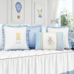 Almofadas Tricot Luxo Azul 4 Peças