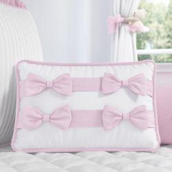 Almofada Laços Tricot Luxo Rosa 43cm