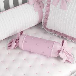 Almofada Apoio Bala Tricot Luxo Rosa