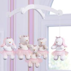 Móbile Ursas e Coelhas Tricot Luxo Rosa