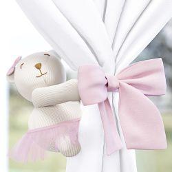 Prendedor de Cortina Ursa Tricot Luxo Rosa 2 Peças