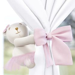 Prendedor de Cortina Ursa Tricot Luxo Rosa
