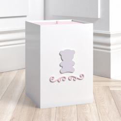 Lixeira Ursa Tricot Luxo Rosa