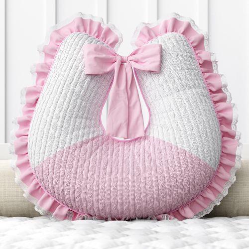 Almofada Amamentação Renda Tricot Luxo Rosa